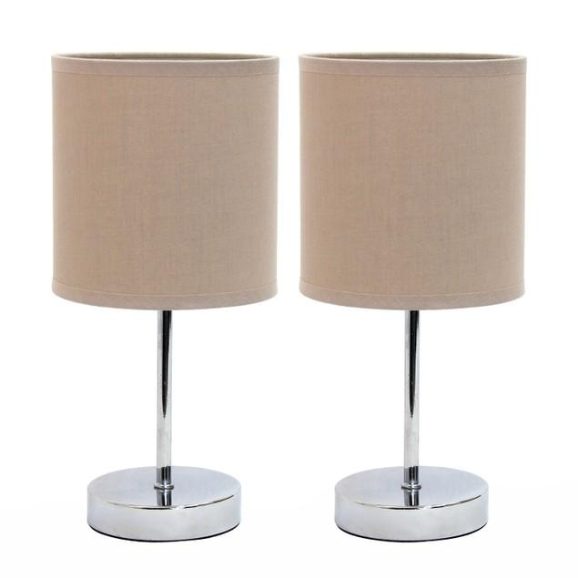 Simple Designs Chrome  Mini Basic Table Lamp - 2PK - Gray Shade