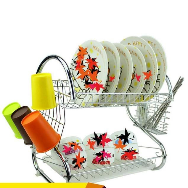 Kitchen Storage 2 Tiers Dish Cup Drying Rack Holder Organizer Drainer