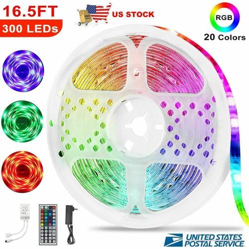 5M RGB 3528 Waterproof LED Strip Light With 44 Key Remote 12V 110V Ful