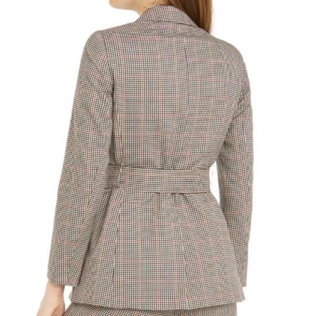 Bar III Women's Plaid Tie Waist Blazer khaki Size X-Large