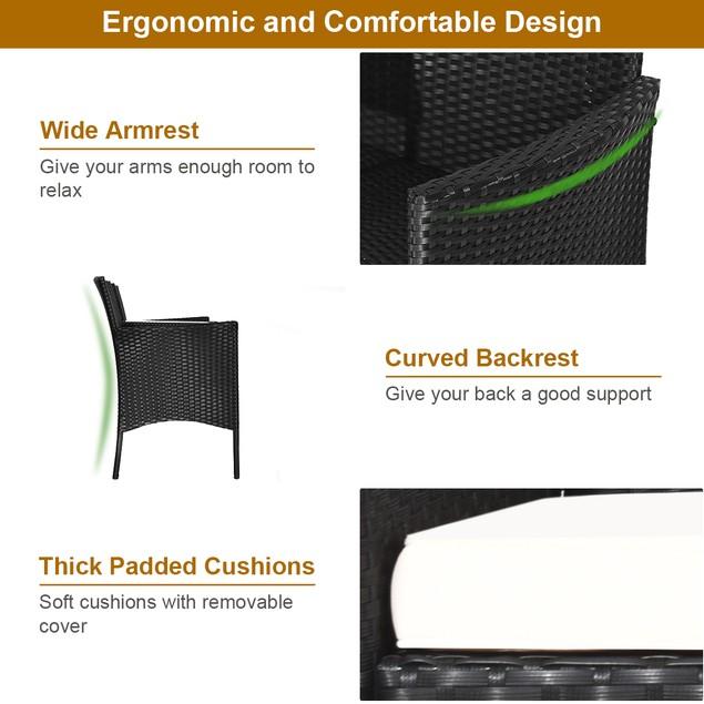 Costway Patio Rattan Conversation Set Seat W/ Glass Table