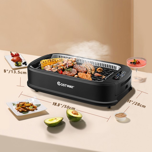 Costway Smokeless Electric Grill Portable Nonstick BBQ w/ Turbo Smoke Extra