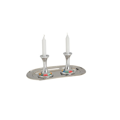 Aluminum Candle Holders with Multi-colored Inlay and Aluminum Tray