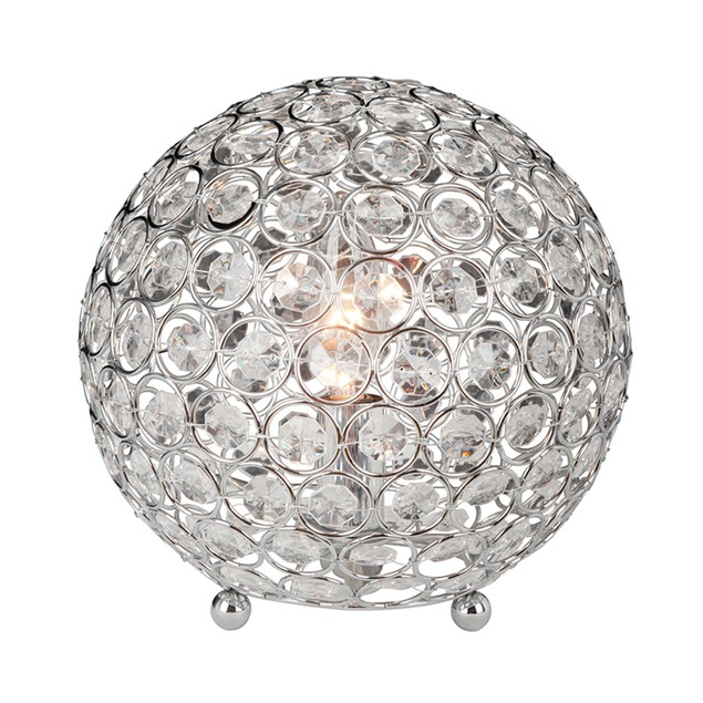 Elegant Designs Crystal Ball Sequin Table Lamp Chrome