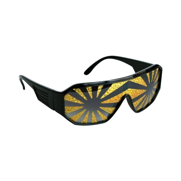 Macho Wrestler Sunglasses Gold Starburst on Black Lens with Black Frame