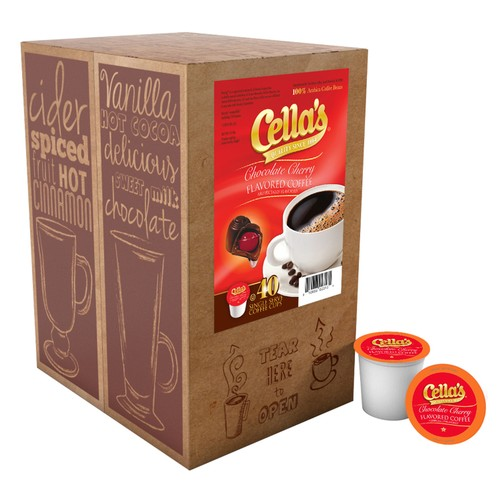Cella's Chocolate Cherry FLAVORED Coffee Pods for Keurig Brewer, 40 count