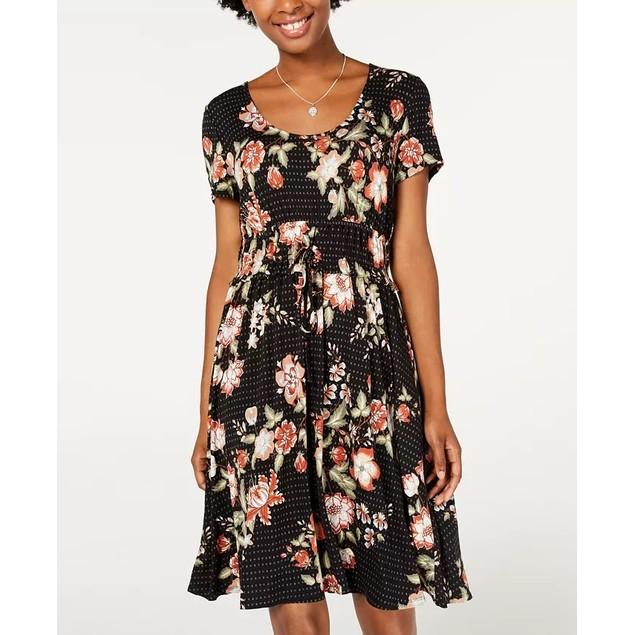 American Rag Junior's Printed Drawstring Waist Dress Black Size Small