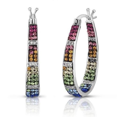 Multi Color Crystal Inside Out Hoop Earrings - 2 Colors
