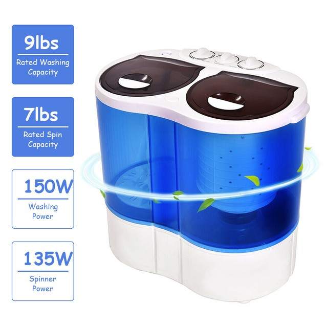 Costway Portable Mini Washing Machine Compact Twin Tub 15.4lbs Washer Spin