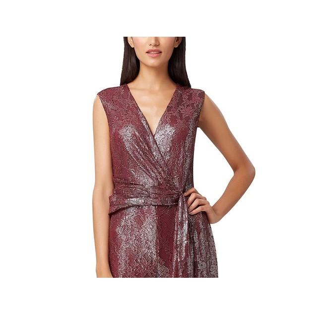 Tahari Asl Women's Foil Lace Jumpsuit Brght Orange Size 10