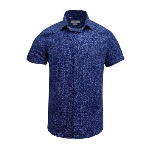 Monza Modern Fit Short Sleeve Royal Marble Dress Shirt