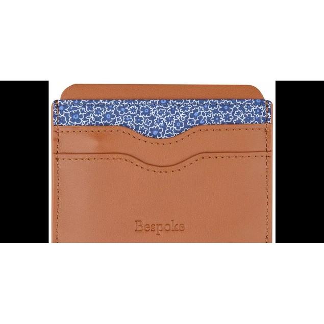 Bespoke Men's Floral & Nappa Leather Card Case Beige Size Regular