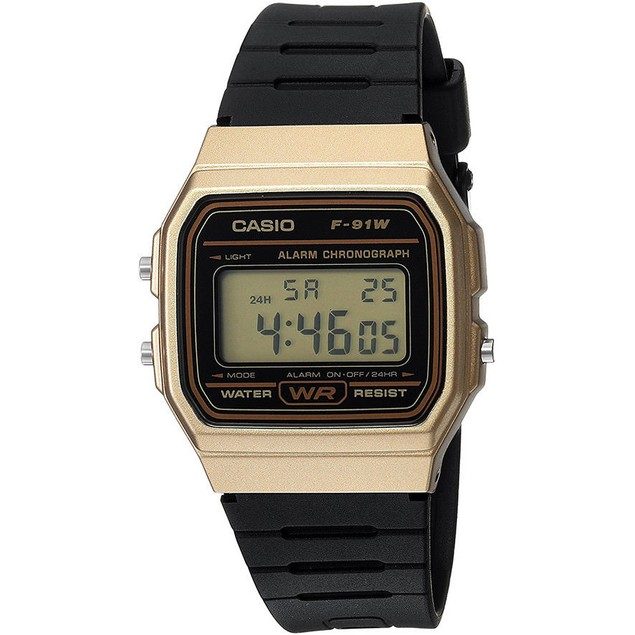 Casio Men's Digital Quartz Gold Tone Stainless Steel Black Resin