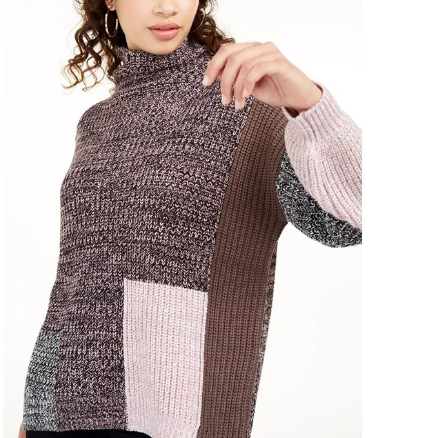 American Rag Juniors' Women's Colorblocked Sweater Brown Size Medium