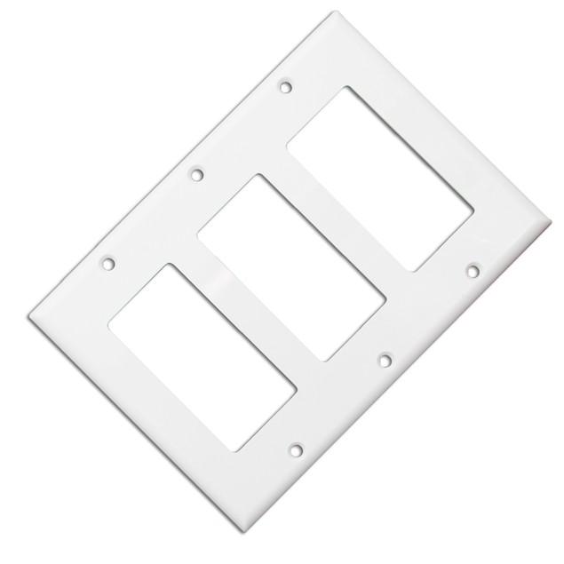 Wall Plate, White, Blank Decora, Triple Gang