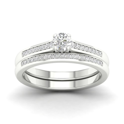De Couer S925 Sterling Silver 1/3ct TDW Diamond Classic Bridal Set I-J,I2