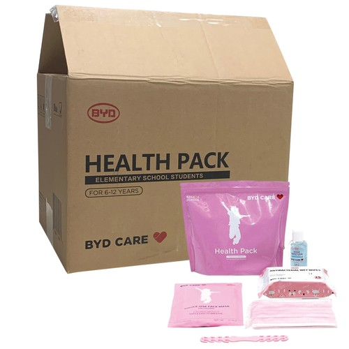 Health Pack PPE Kit (Case of 20 Kits) for Student, Kids 6-12 Years  - Pink
