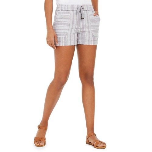 Style & Co Women's Striped Linen-Blend Shorts Gray Size 2 Extra Large