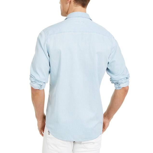 INC International Concepts Men's Avery Zip-Pocket Shirt  Blue Size Large
