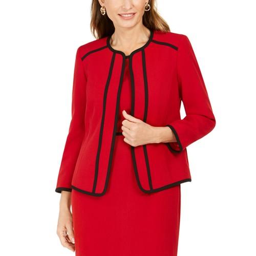 Kasper Women's Petite Piping-Trim Collarless Blazer Red Size 10