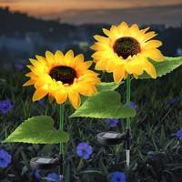 Deals on 2-Pack Solar Sunflower Garden Light LED Yard Path Light
