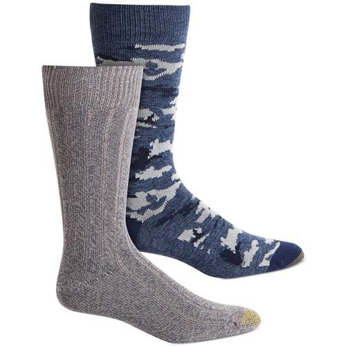 Gold Toe Men's 2-Pk. Camo Socks Gray / Blue Size Regular