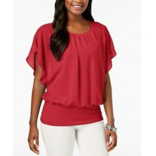 JM Women's Collection Flutter-Sleeve Top Medium Red Size Medium