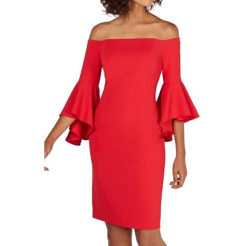 Calvin Klein Women's Petite Off-The-Shoulder Sheath Dress Red Size 4P
