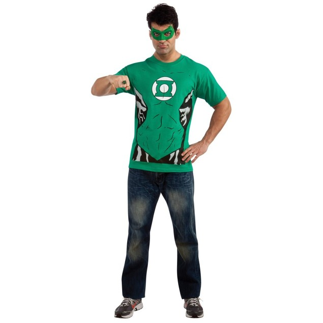 Green Lantern Adult T-Shirt Costume Kit Mask Ring DC Comics Mens Super Hero