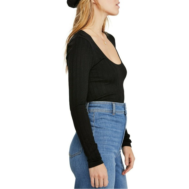 Free People Women's Lucky You Layering Top Black Size Small