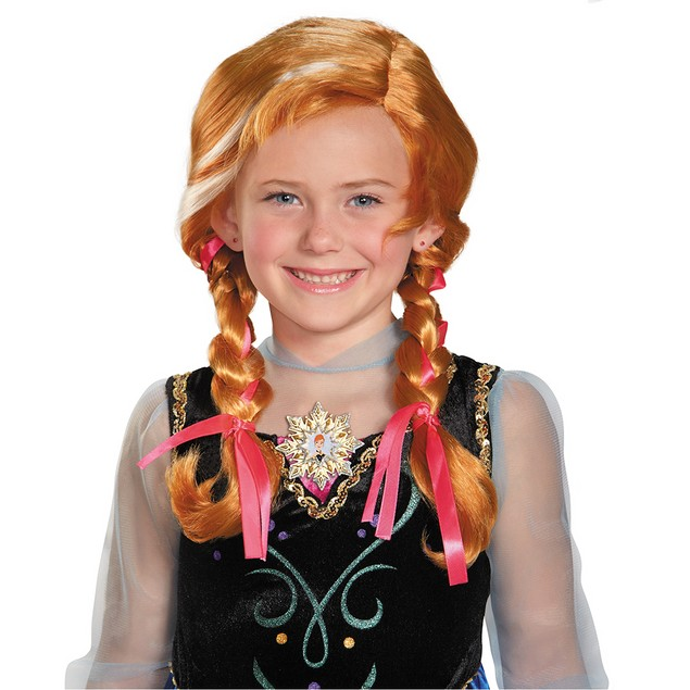 Frozen Anna Child Wig Disney Princess Girls Youth Red Long Snow Queen Braid