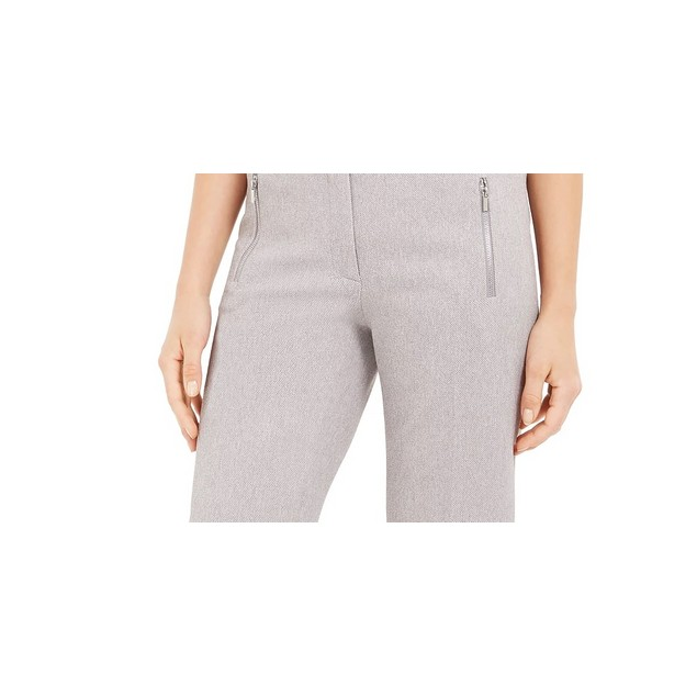 Calvin Klein Women's Zipper Pocket Cropped Twill Pants Grey Size 6