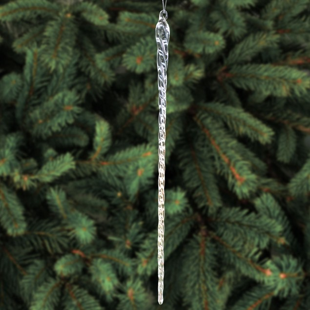 14 Inch Clear Glass Icicle Ornaments Christmas Tree Hanging Decoration