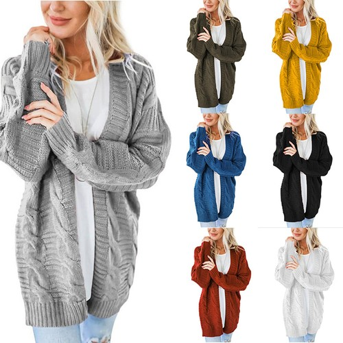 Women's Solid Color Mid-Length Thick Knit Jacket