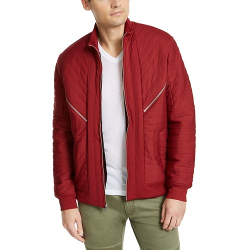 INC International Concepts Men's Burton Quilted Jacket  Red Size X-Large