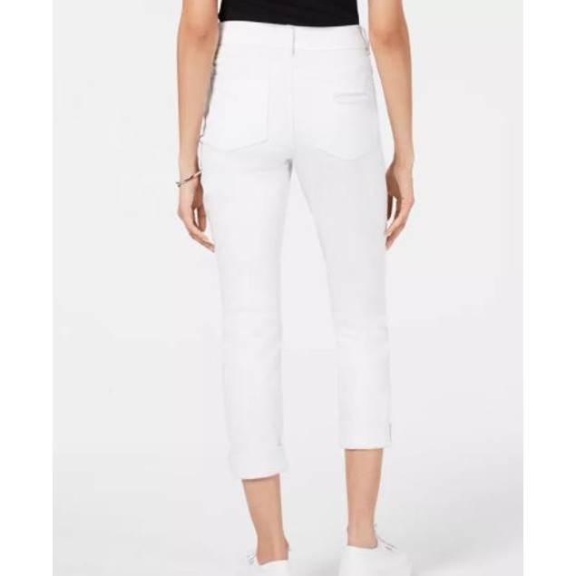 Indigo Rein Junior's Colored Denim Cuffed Skinny Jeans White Size 15