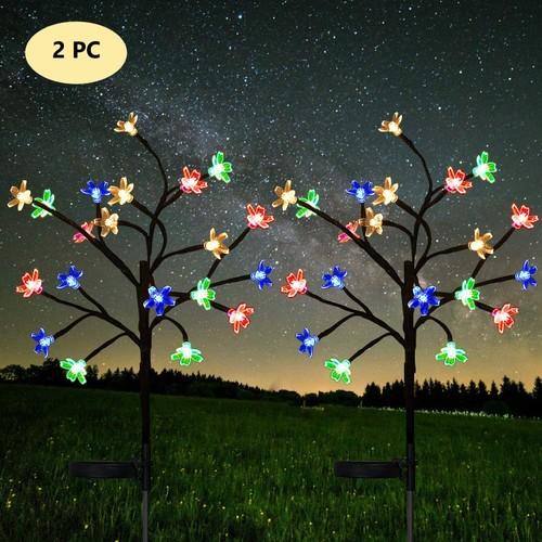 2Pcs Solar Cherry Flower String Lights
