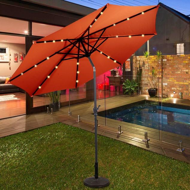 Costway 10FT LED Solar Patio Umbrella W/Crank