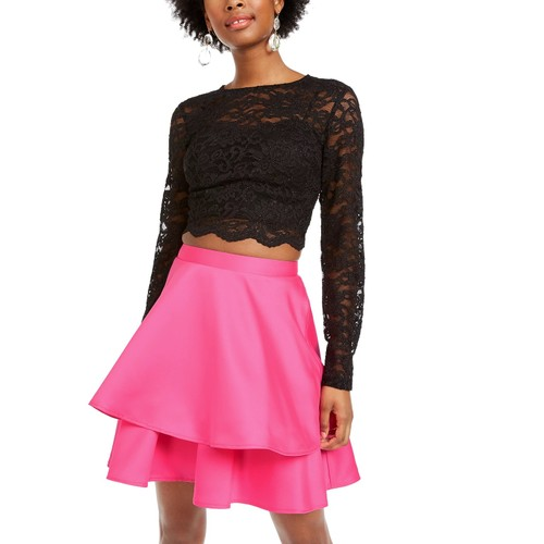 City Studios Junior's 2 Pc Lace Top & Satin Skirt Dress Pink Size 13