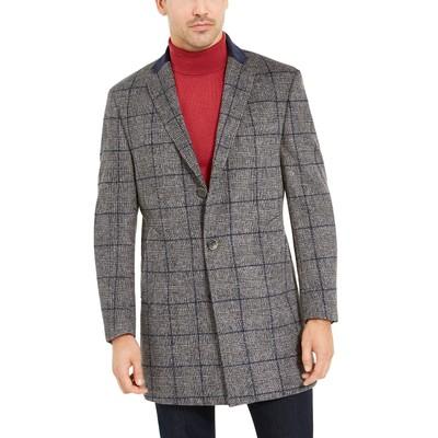Tallia Orange Men's Slim-Fit Gray Windowpane Overcoat Gray Size X-Large