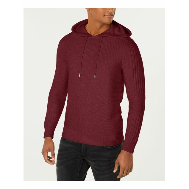 INC International Concepts Men's Hooded Sweater Wine Size Large
