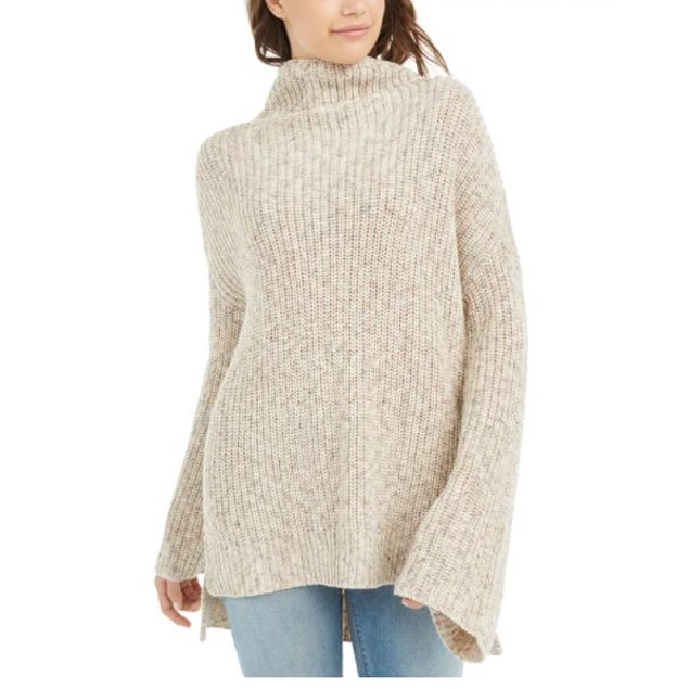 American Rag Junior's Flare Sleeved High Low Sweater Beige Size X-Small