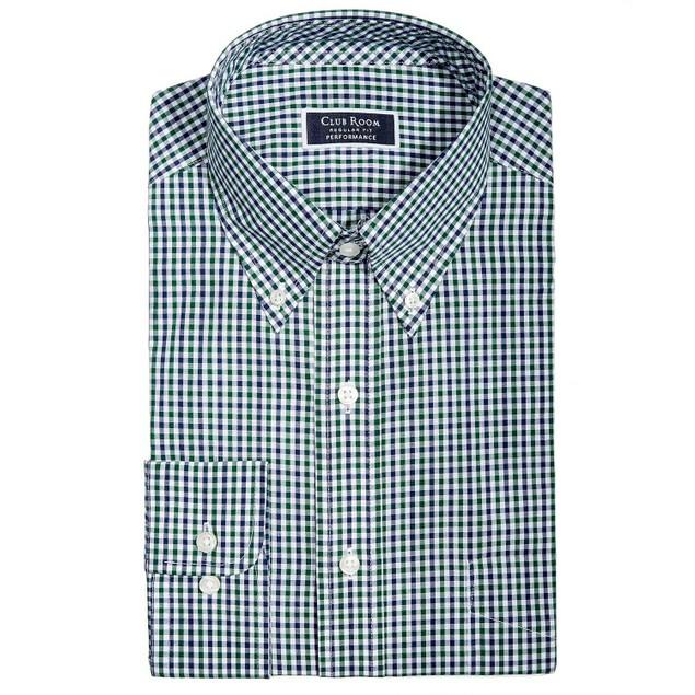 Club Room Classic/Regular Fit Gingham Check Dress Shirt Olive 18x36-37