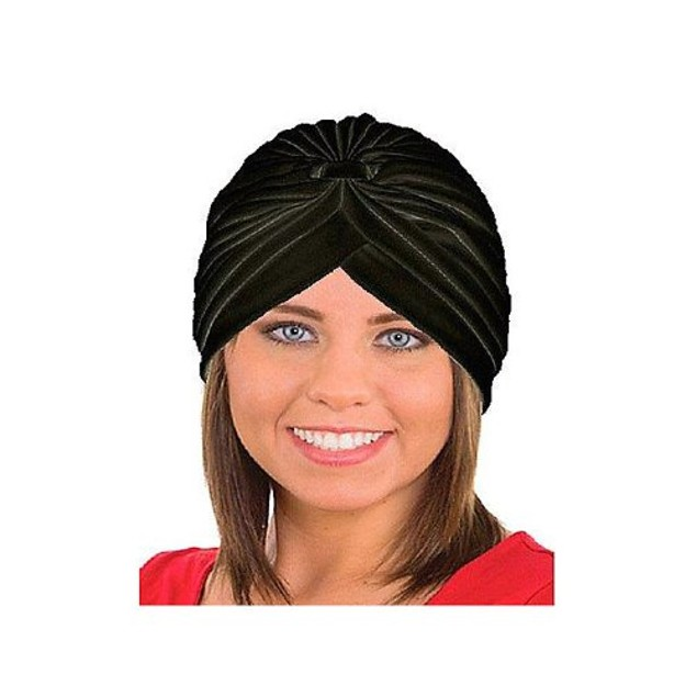Black Spandex Pleated Turban Adult Psychic Genie Hat Fortune Teller Costume
