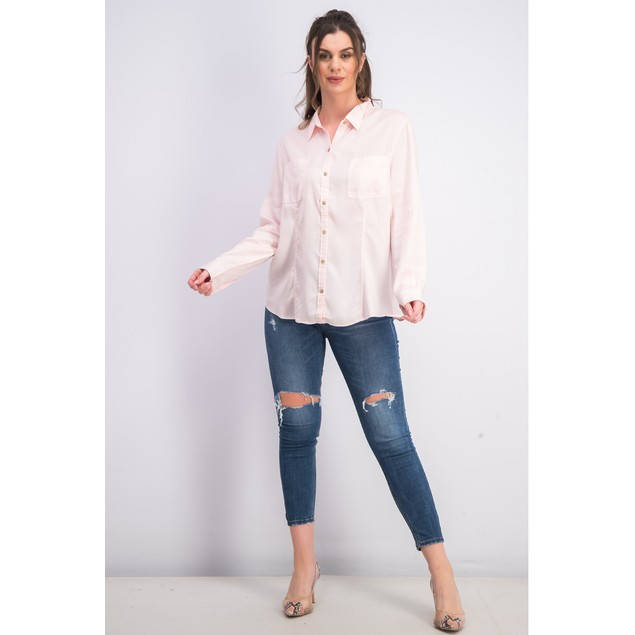 Charter Club Women's Woven Solid Tencel Shirt Pink Size Extra Large