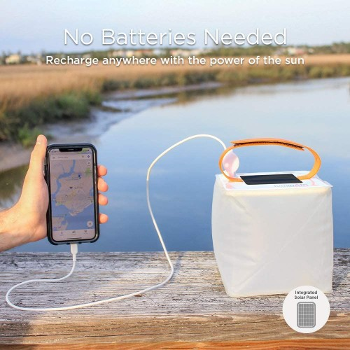 Luminaid Packlite 2-in-1 Phone Charger LED Solar Inflatable Lantern, White