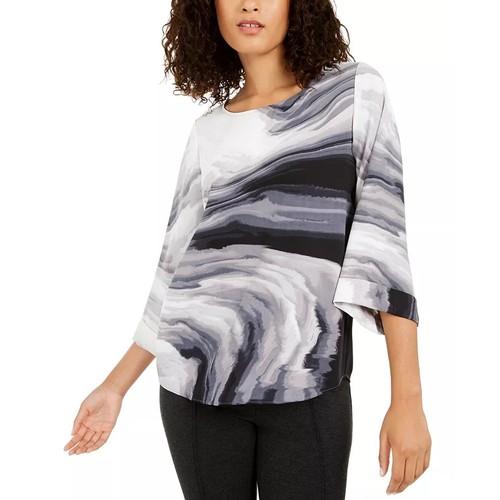Alfani Women's Printed Swing Top Gray Size Small