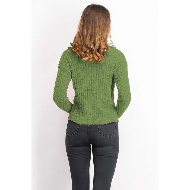Crave Fame Juniors' Ribbed Cropped Sweater Green Size Medium