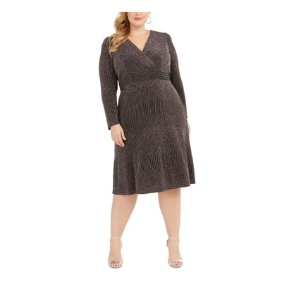 R & M Richards Women's Plus Size Glitter-Knit A-Line Dress Charcoal Size 14