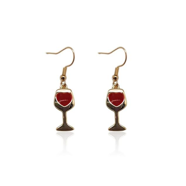 Novadab Sturdy Wine Glass Hooked Earrings